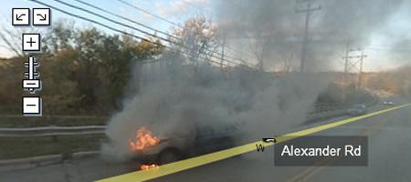 Burning car scariest
