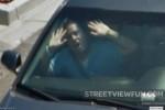 Man stuck in a car