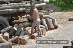 Chainsaw wood in briefs and flipflops