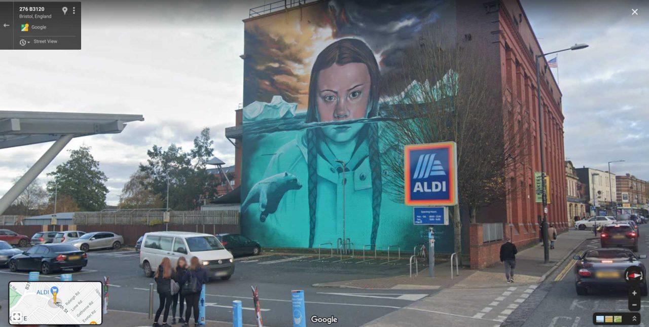 Greta Thunberg mural in Bristol, UK