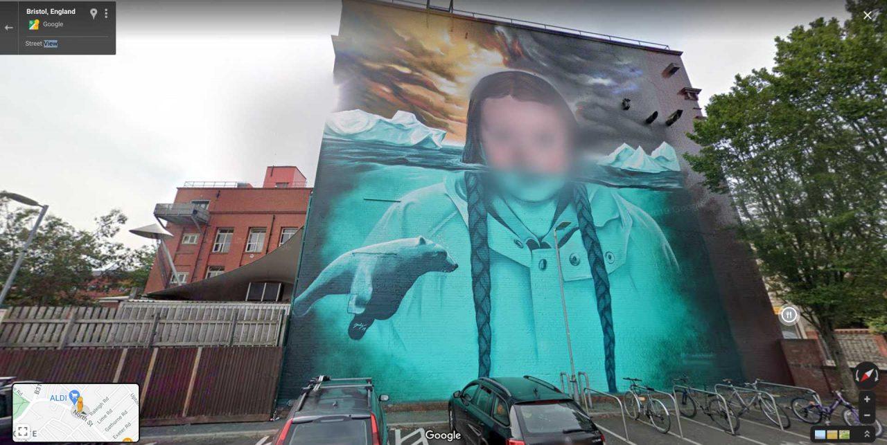 Blurred Greta Thunberg mural